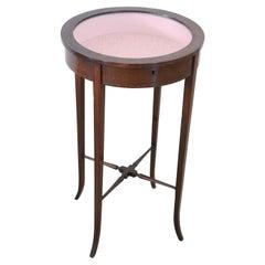 Nice Italian Walnut Round Pedestal Table with Display Glass Top, 1920s