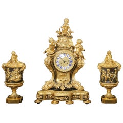 Nice Late 19th Century Gilt and Patinated Bronze Three Piece Clock Set