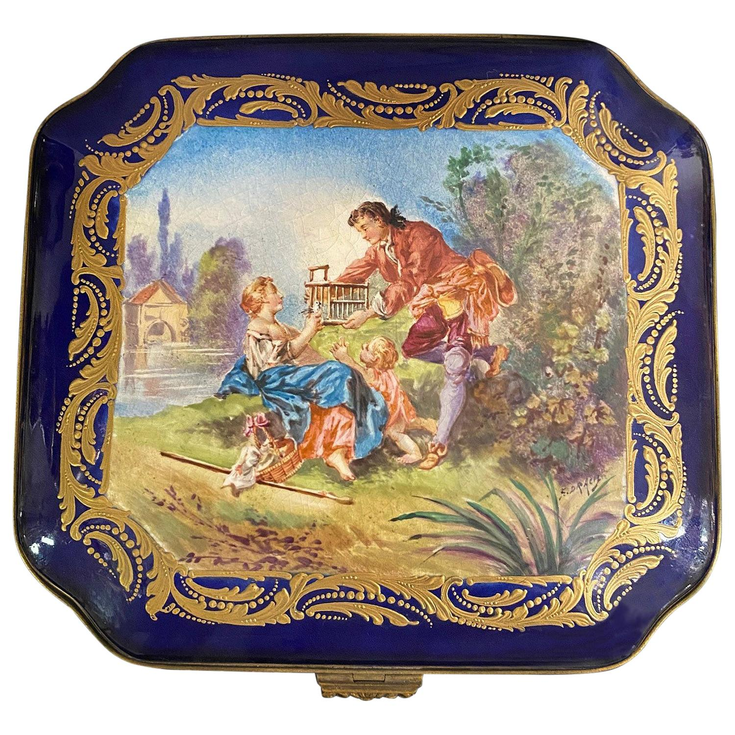 Nice Late 19th Century Sèvres Style Porcelain Jewelry Box and Cover