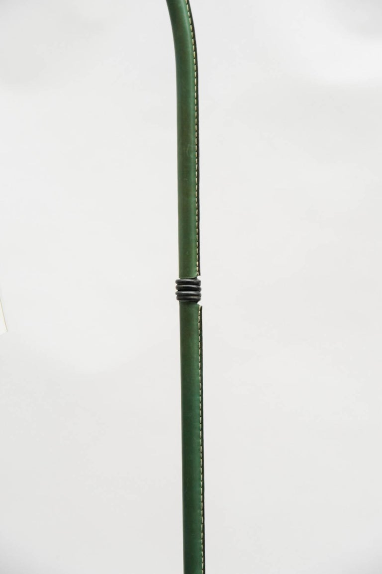 French Nice Leather Floor Lamp by Jacques Adnet For Sale