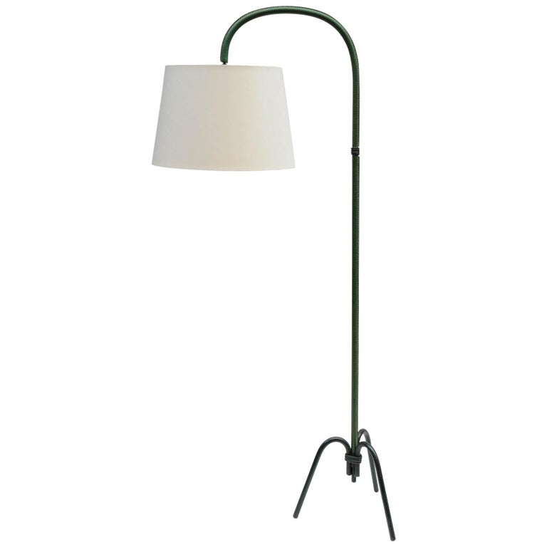 Nice Leather Floor Lamp by Jacques Adnet For Sale