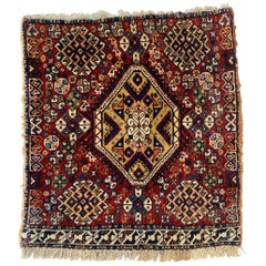 Nice Little Fine Antique Ghashghai Bag Face Rug