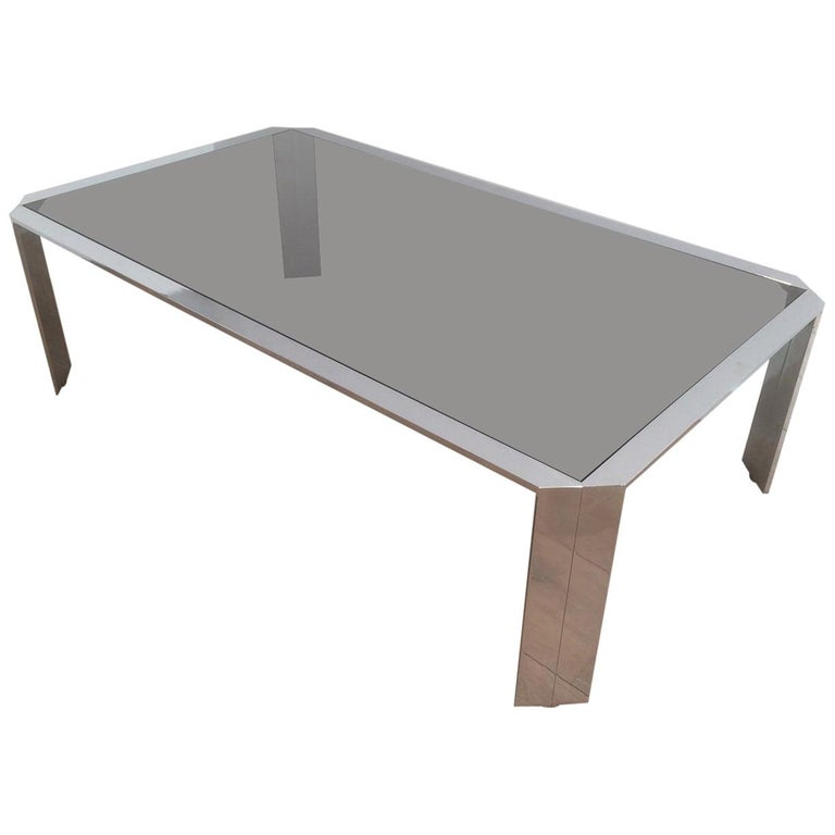 Nice Octagonal Chromed Coffee Table with Black Glass Top, Very Good Quality For Sale