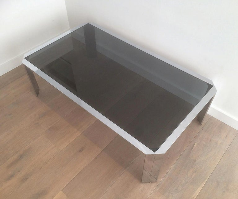 Nice Octagonal Chromed Coffee Table with Black Glass Top, Very Good Quality For Sale 4