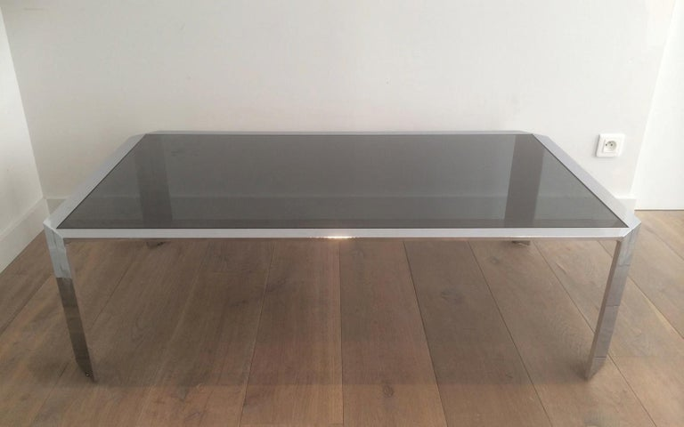 Nice Octagonal Chromed Coffee Table with Black Glass Top, Very Good Quality For Sale 5
