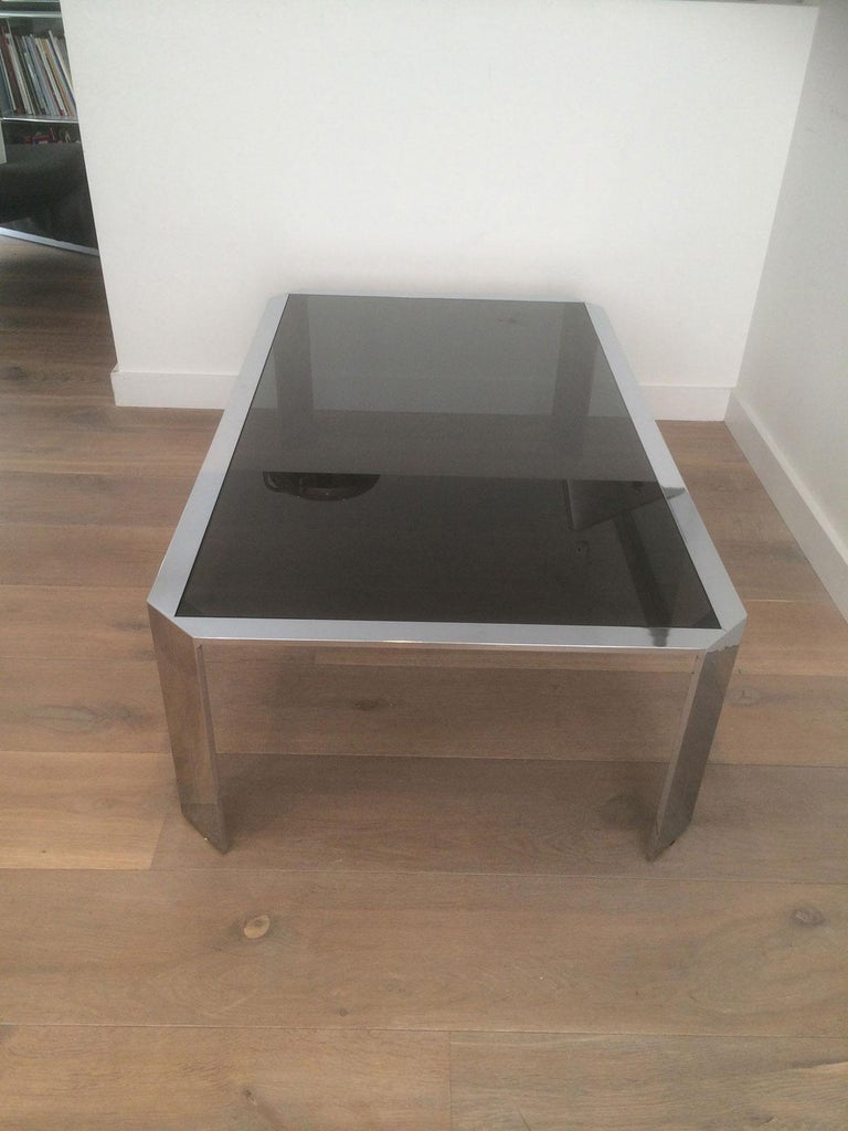 Nice Octagonal Chromed Coffee Table with Black Glass Top, Very Good Quality For Sale 7