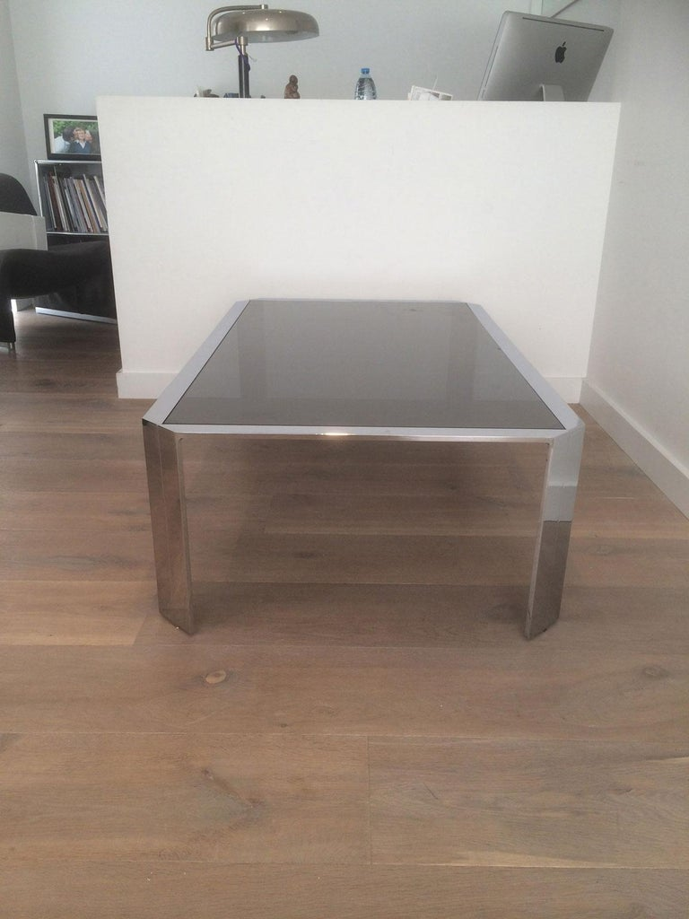 Nice Octagonal Chromed Coffee Table with Black Glass Top, Very Good Quality For Sale 8