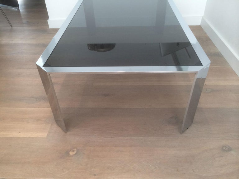 Nice Octagonal Chromed Coffee Table with Black Glass Top, Very Good Quality For Sale 9