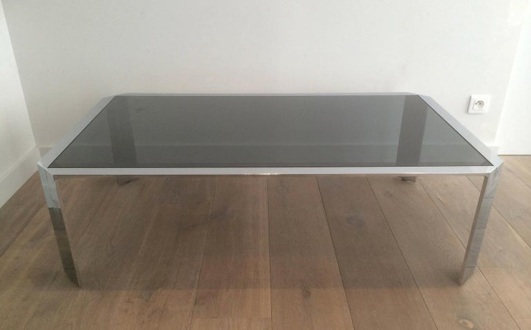 Mid-Century Modern Nice Octagonal Chromed Coffee Table with Black Glass Top, Very Good Quality For Sale