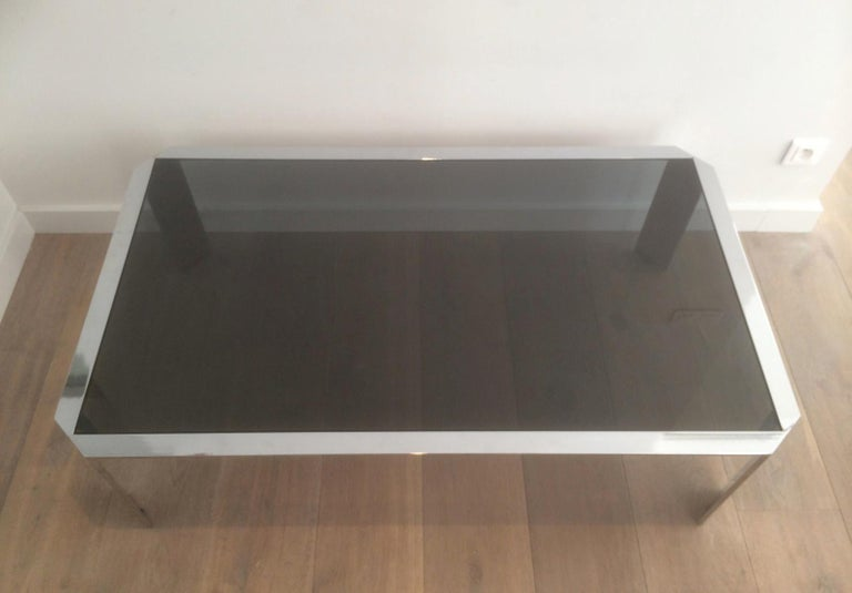 French Nice Octagonal Chromed Coffee Table with Black Glass Top, Very Good Quality For Sale