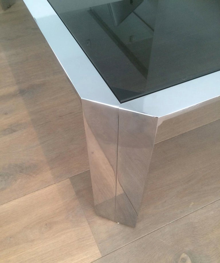 Nice Octagonal Chromed Coffee Table with Black Glass Top, Very Good Quality In Good Condition For Sale In Marcq-en-Baroeul, FR