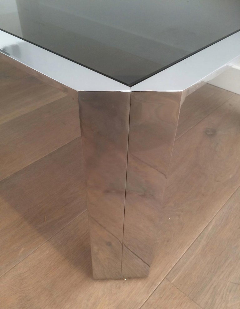 Late 20th Century Nice Octagonal Chromed Coffee Table with Black Glass Top, Very Good Quality For Sale