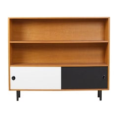 Nice Open Storage Cabinet with Two-Tone Sliding Doors from Denmark, 1970s