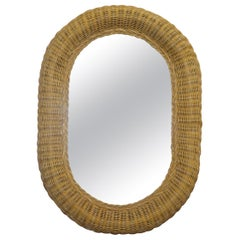 Nice Ornate Wicker Oval Wall Mounted Mirror Ornately Handwoven