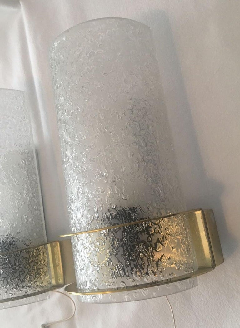 German Nice Pair of 1960s Ice Glass Sconces by Doria Leuchten For Sale