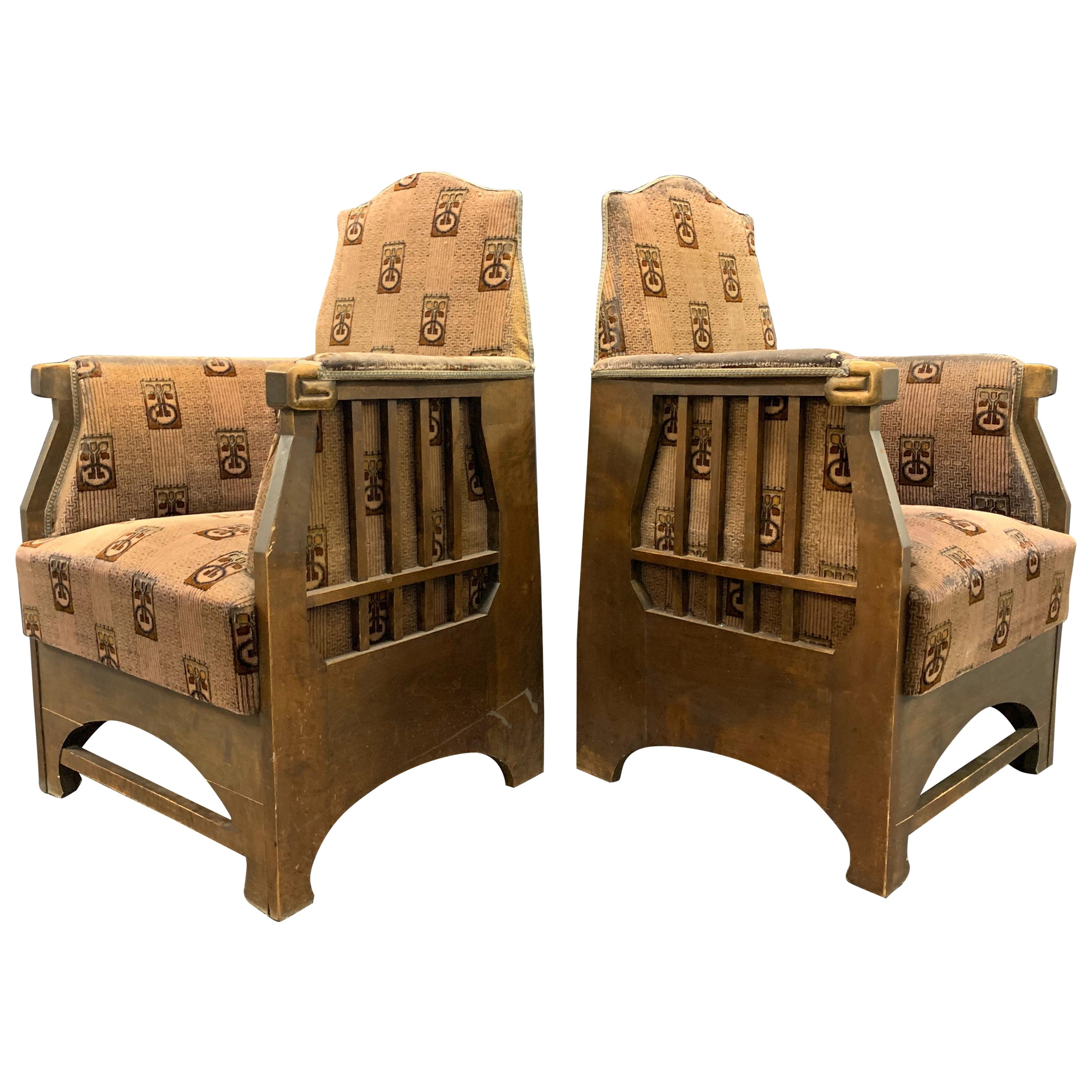Nice Pair of Art Nouveau Lounge Chairs