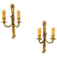 Nice Pair of French Bronze Tassel Wall Lights
