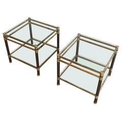 Nice Pair of Gun Metal and Brass Side Tables, circa 1970