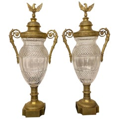 Nice Pair of Late 19th Century Gilt Bronze and Cut Crystal Empire Style Vases