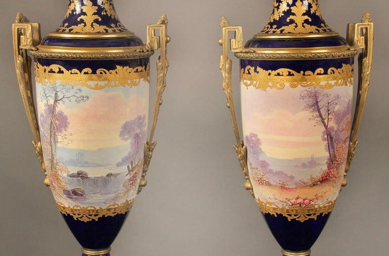 Belle Époque Nice Pair of Late 19th Century Gilt Bronze Mounted Sèvres Style Porcelain Vases For Sale