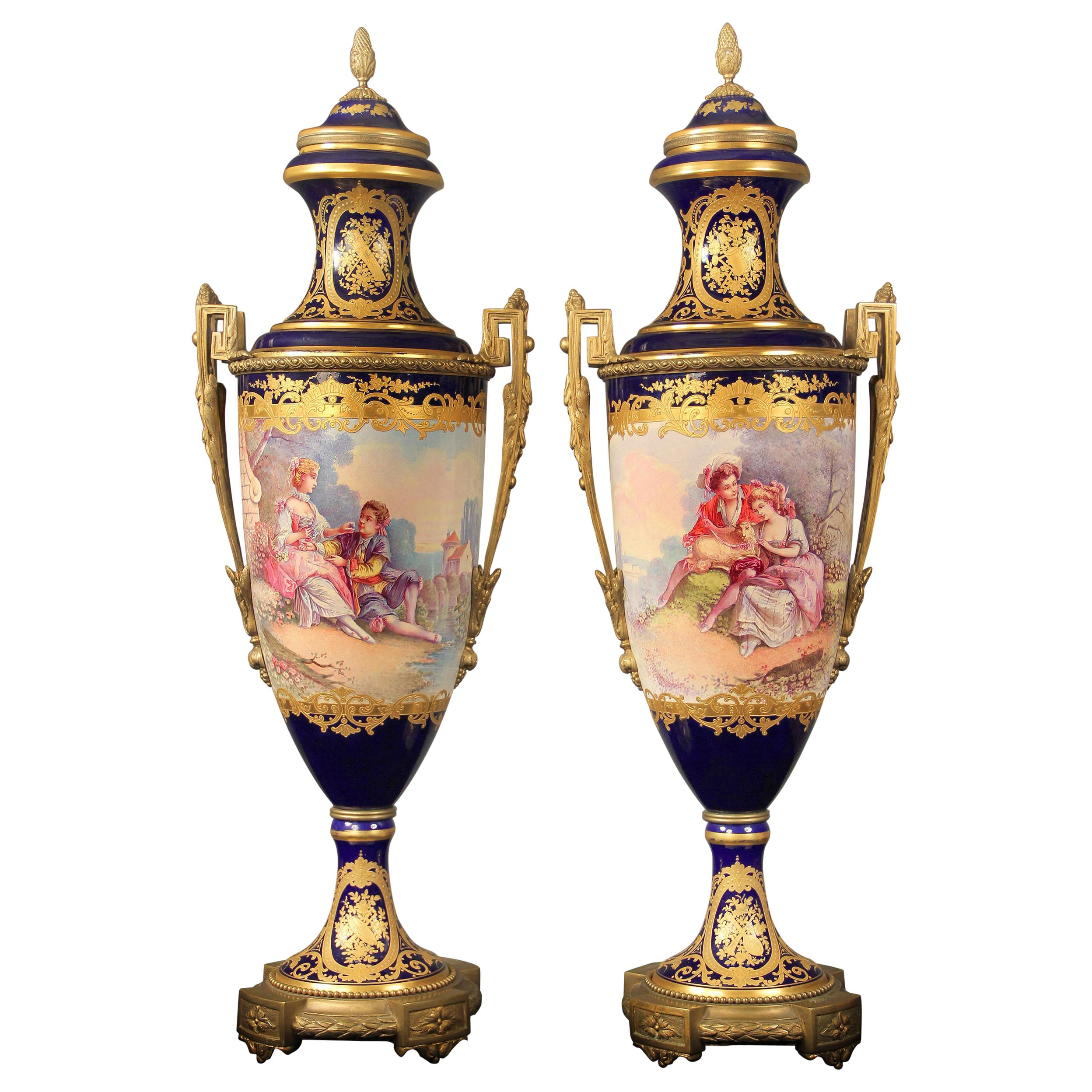 Nice Pair of Late 19th Century Gilt Bronze Mounted Sèvres Style Porcelain Vases
