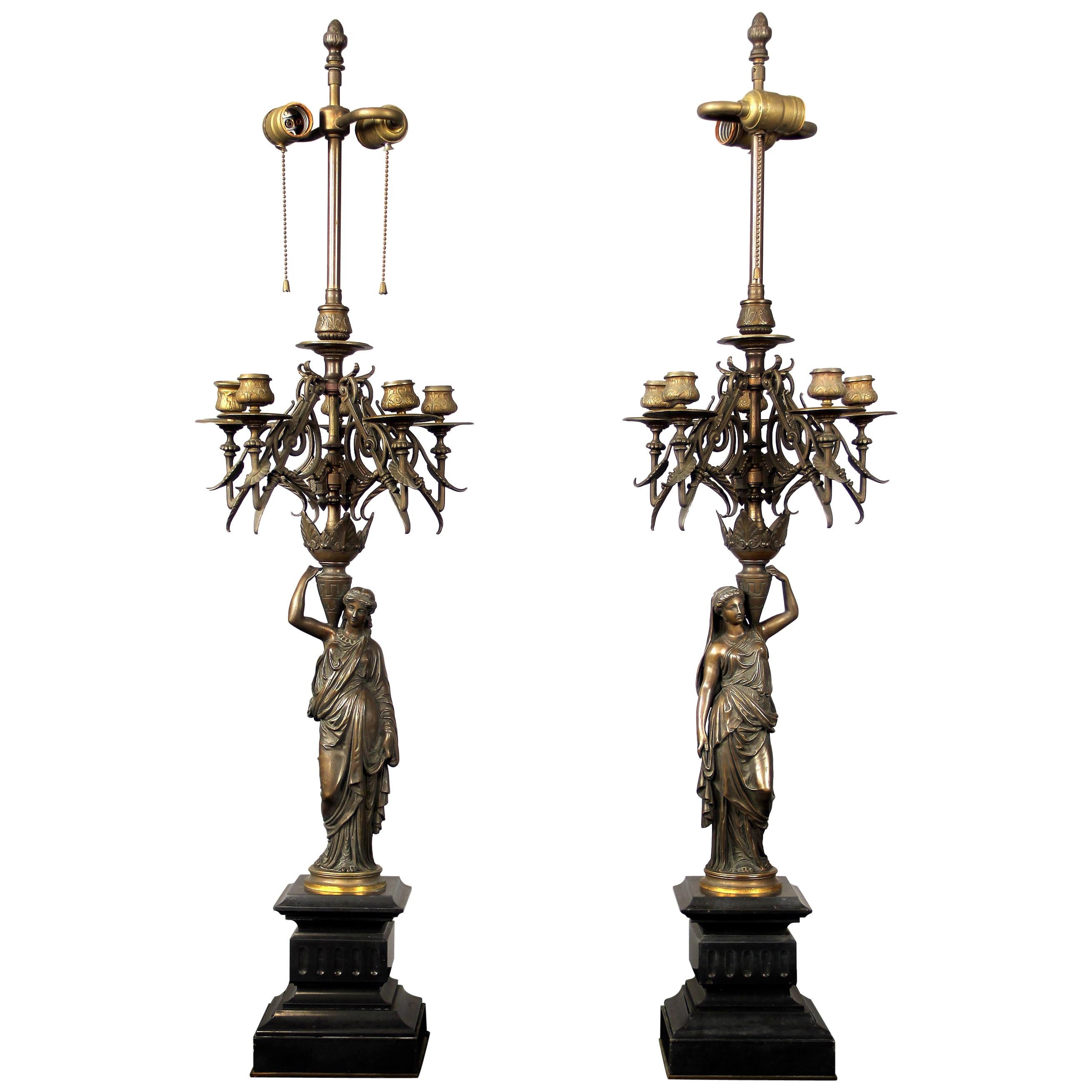 Nice Pair of Late 19th Century Patina Bronze Figural Candelabra Lamps