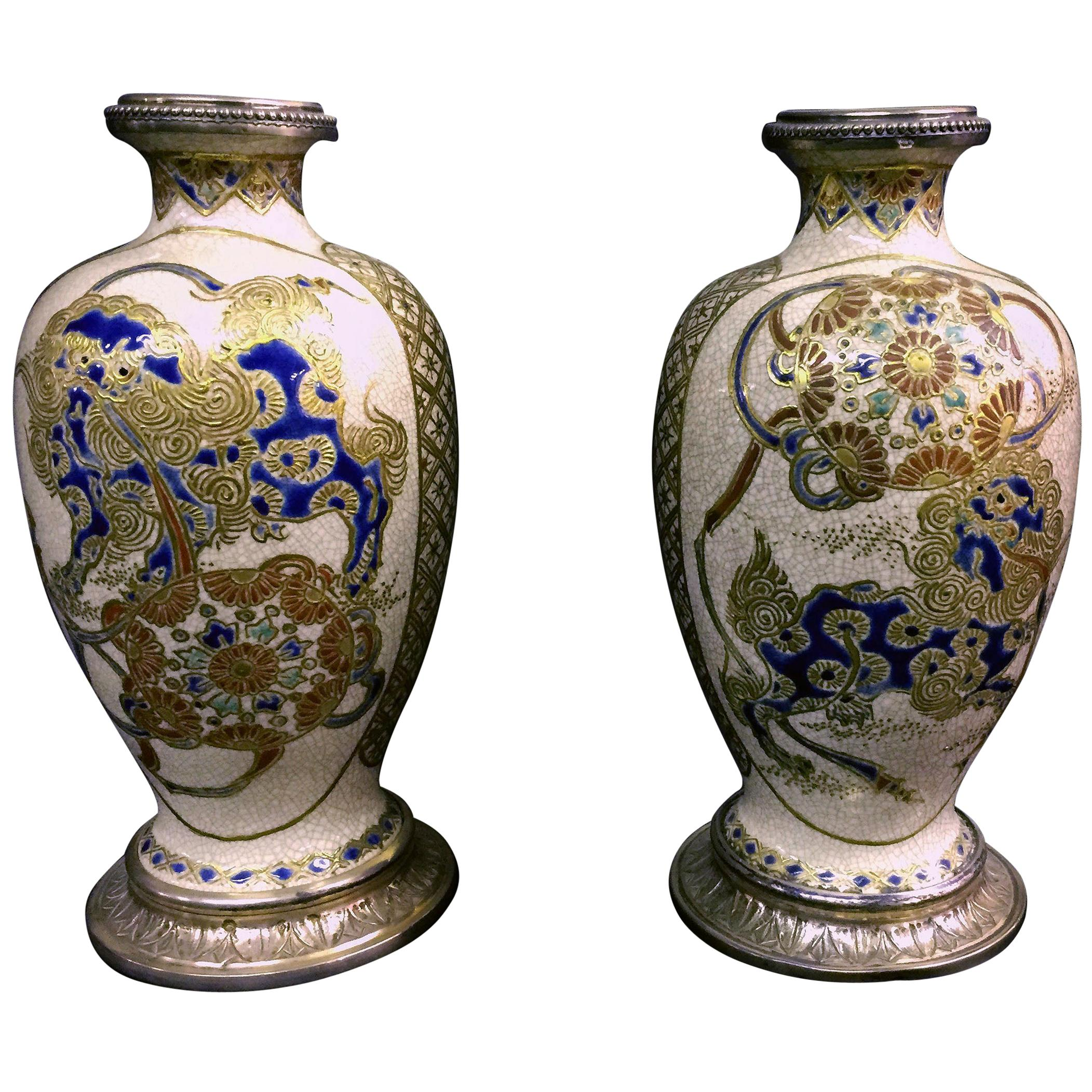 Nice Pair of Late 19th Century Silver Mounted Japanese Satsuma Porcelain Vases