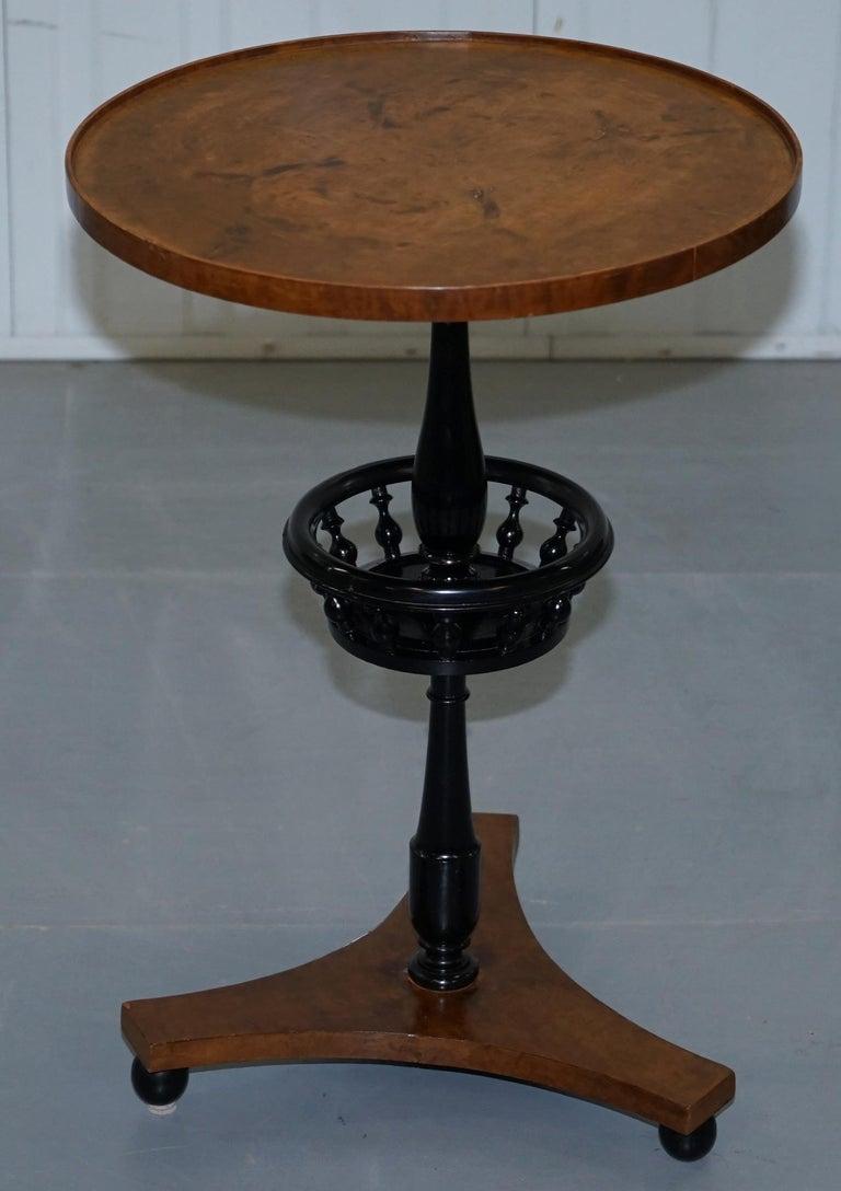 Nice Pair of Restored Biedermeier Burr Walnut Side End Lamp Wine Tables Ebonized For Sale 7