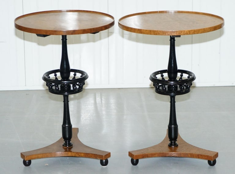 We are delighted to offer for sale this lovely pair vintage Biedermeier burr walnut side tables in restored condition  These tables have been restored to include having the finish stripped off, they have then been lightly French polished with a
