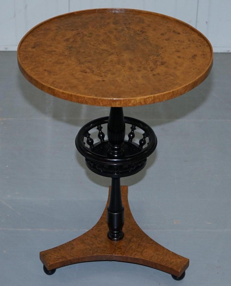 Swedish Nice Pair of Restored Biedermeier Burr Walnut Side End Lamp Wine Tables Ebonized For Sale