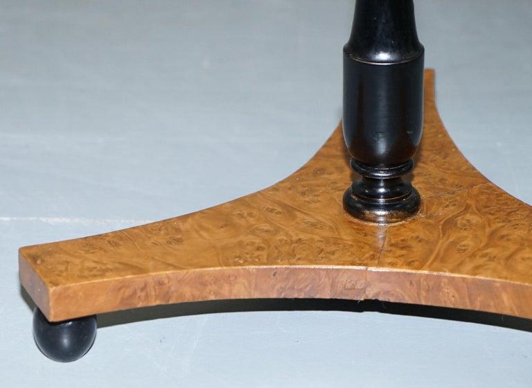 Nice Pair of Restored Biedermeier Burr Walnut Side End Lamp Wine Tables Ebonized For Sale 3