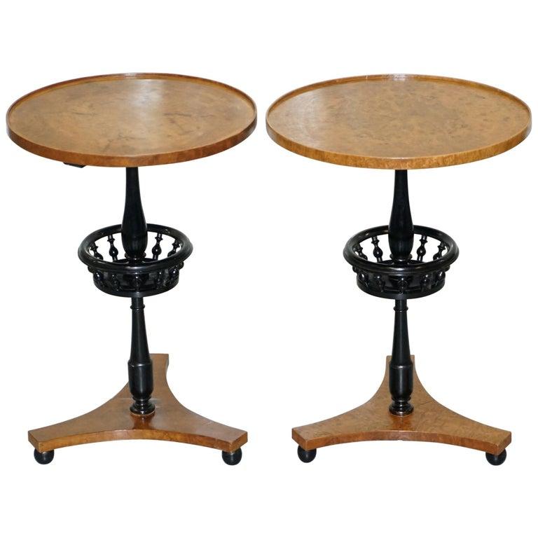 Nice Pair of Restored Biedermeier Burr Walnut Side End Lamp Wine Tables Ebonized For Sale