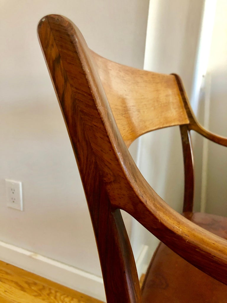 Nice Pair Ole Wanscher Rosewood Armchairs for AJ Iversen For Sale 4