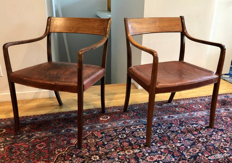 Nice Pair of Ole Wanscher Rosewood Armchairs for AJ Iversen For Sale 8
