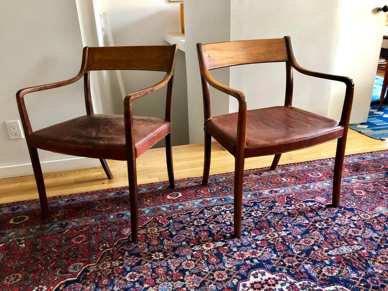 Nice Pair of Ole Wanscher Rosewood Armchairs for AJ Iversen For Sale 9