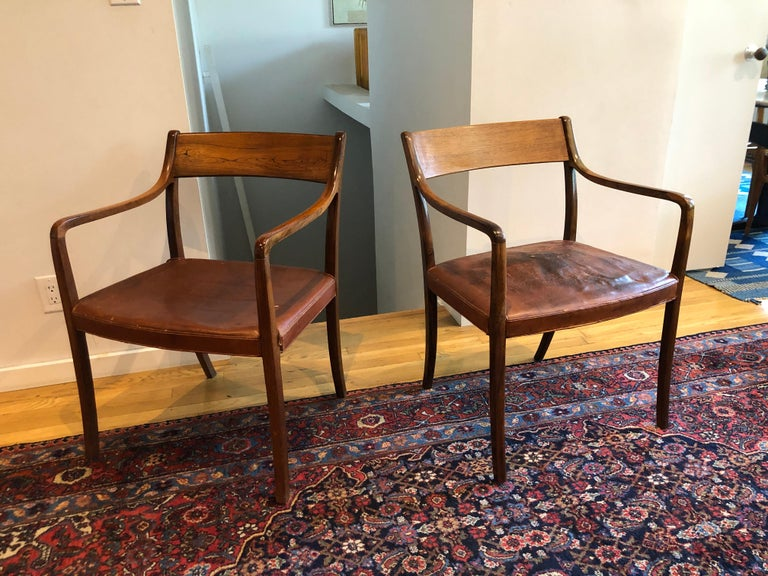 Nice Pair of Ole Wanscher Rosewood Armchairs for AJ Iversen For Sale 10