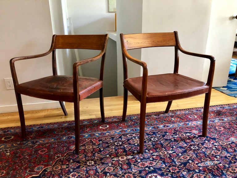 Nice Pair of Ole Wanscher Rosewood Armchairs for AJ Iversen For Sale 11