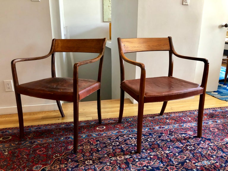Nice Pair of Ole Wanscher Rosewood Armchairs for AJ Iversen For Sale 12