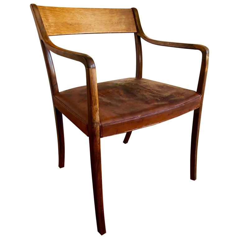 """With original leather seats, circa 1961. This model was presented at The Copenhagen Cabinetmakers' Guild Exhibition at Designmuseum Danmark, 1961. They were described as """".. an extremely beautiful light armchair in a purely Classic form.."""""""