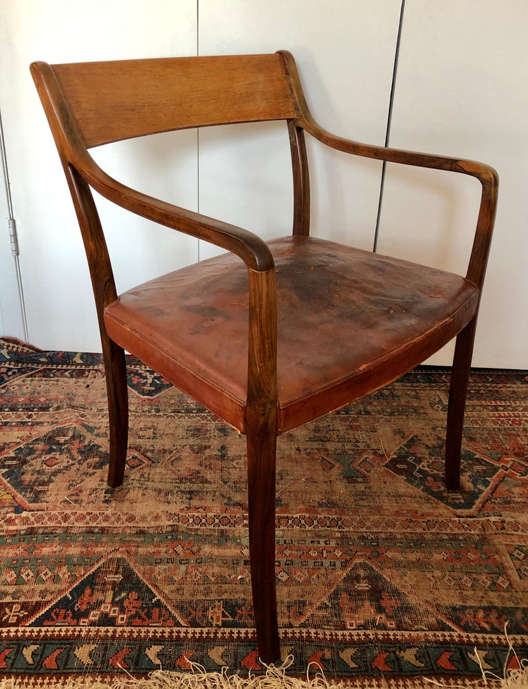 Mid-Century Modern Nice Pair Ole Wanscher Rosewood Armchairs for AJ Iversen For Sale