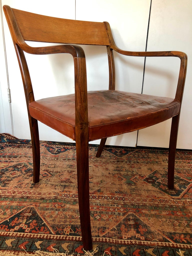 Mid-Century Modern Nice Pair of Ole Wanscher Rosewood Armchairs for AJ Iversen For Sale