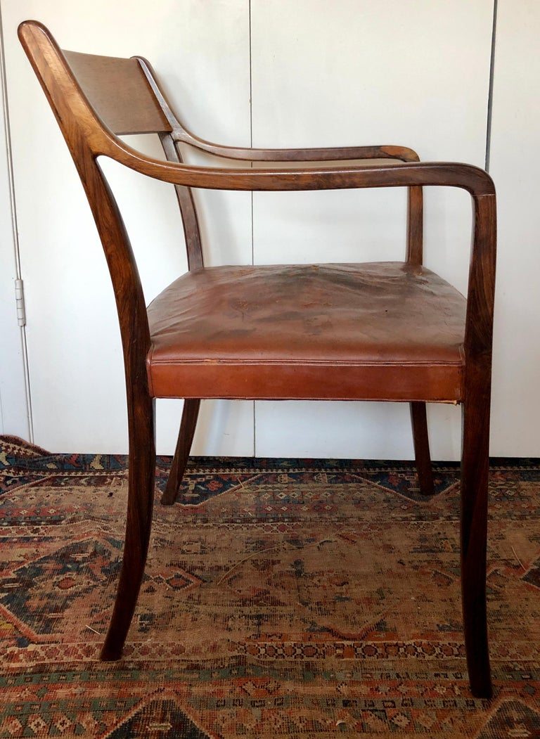 Nice Pair of Ole Wanscher Rosewood Armchairs for AJ Iversen In Good Condition For Sale In Hudson, NY