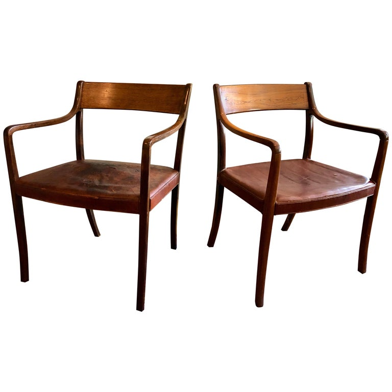 Nice Pair of Ole Wanscher Rosewood Armchairs for AJ Iversen For Sale