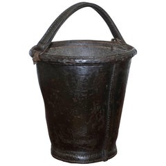 Nice Rare circa 1800 Leather and Iron Bound Fire or Pete Bucket Original Handle
