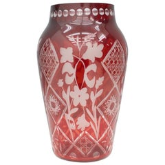 Nice Red Glass Vase from France, 1950s