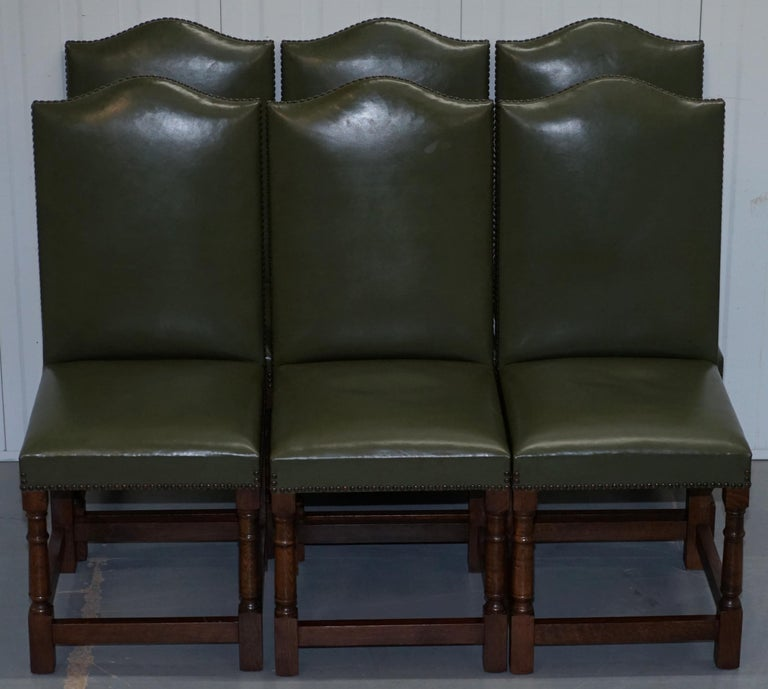 Terrific Nice Set Of Six Edwardian English Oak And Green Leather High Back Dining Chairs Evergreenethics Interior Chair Design Evergreenethicsorg