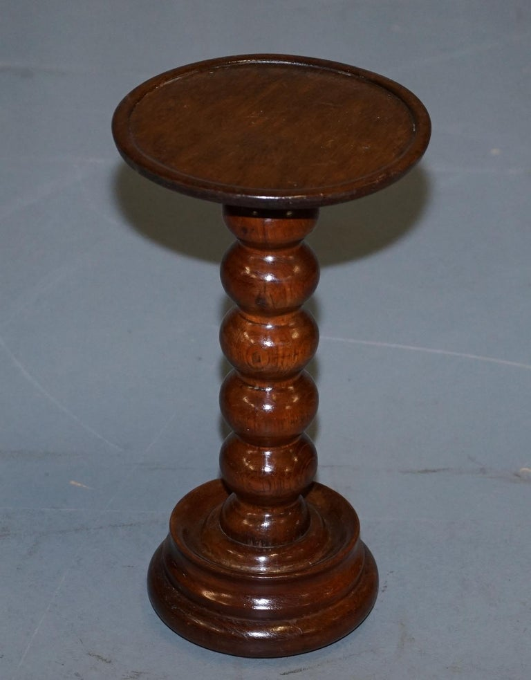 We are delighted to offer for sale this original Victorian walnut Bobbin turned base side table   A good looking well made table in excellent order, ideally suited for a single lamp.  We have cleaned waxed and polished it from top to bottom,