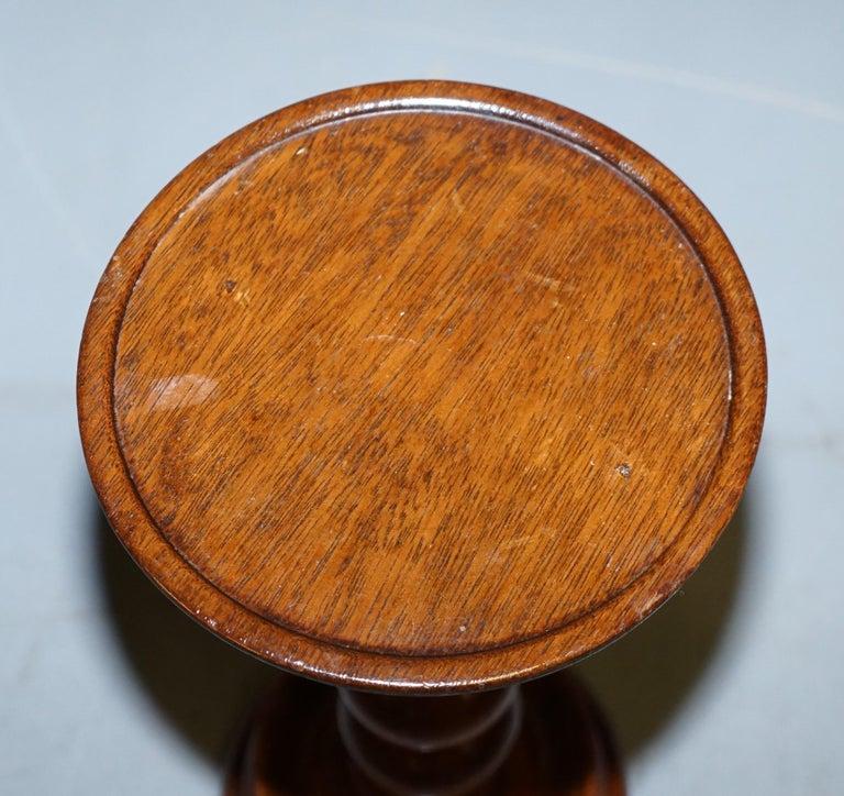 English Nice Small Chunky Victorian Walnut Bobbin Turned Pillar Side End Lamp Wine Table For Sale