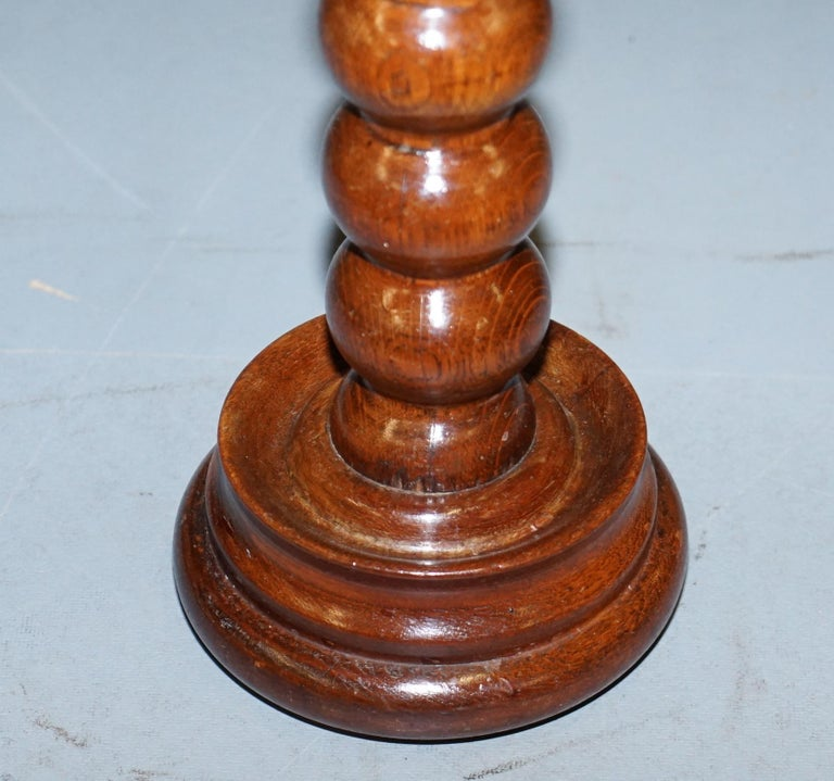 Hand-Crafted Nice Small Chunky Victorian Walnut Bobbin Turned Pillar Side End Lamp Wine Table For Sale