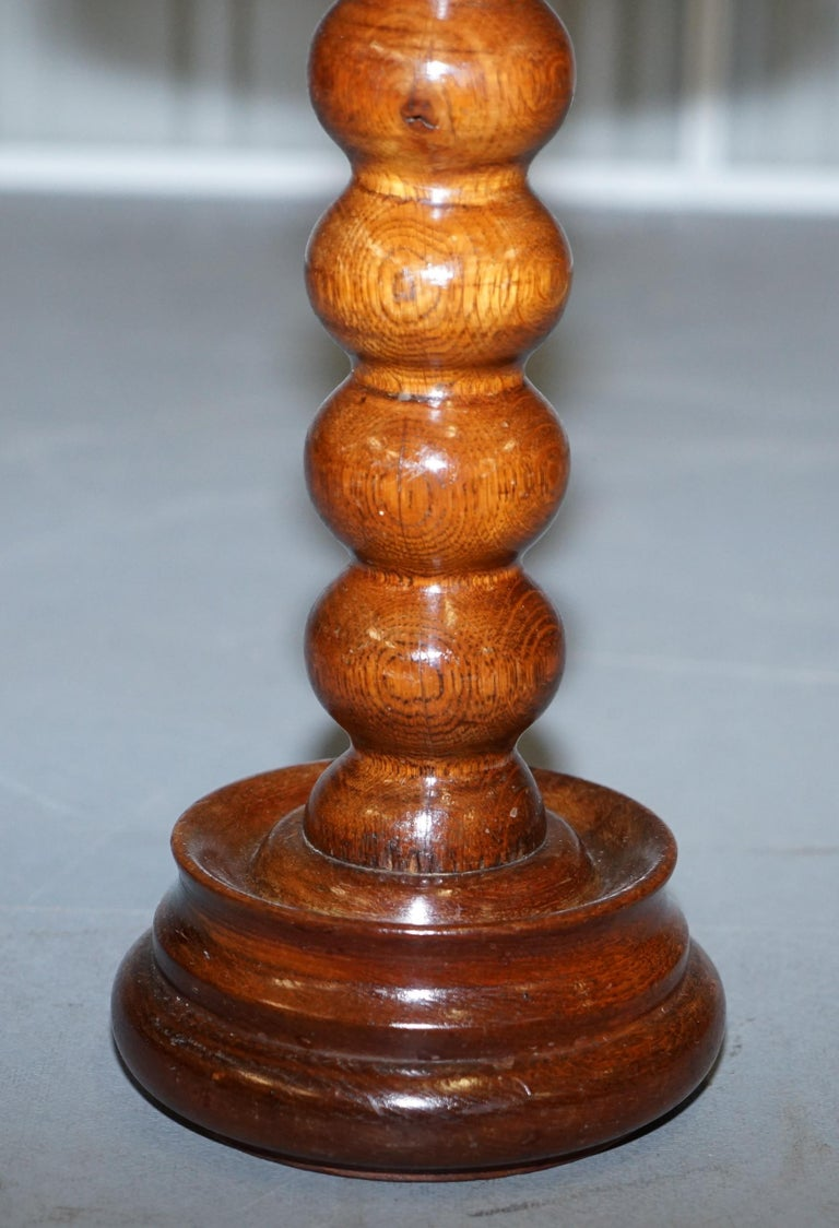 19th Century Nice Small Chunky Victorian Walnut Bobbin Turned Pillar Side End Lamp Wine Table For Sale